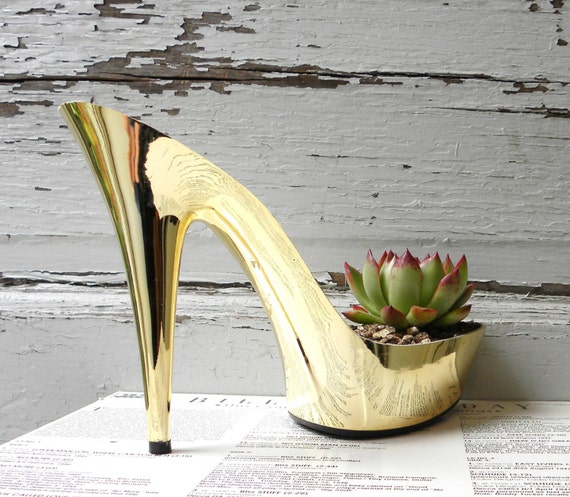 glam gold stiletto succulent planter, repurposed