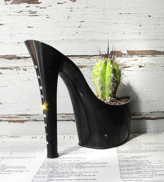 SALE Drunk Girl. stiletto cactus planter. feminist art. reclaimed rhinestone high heel.