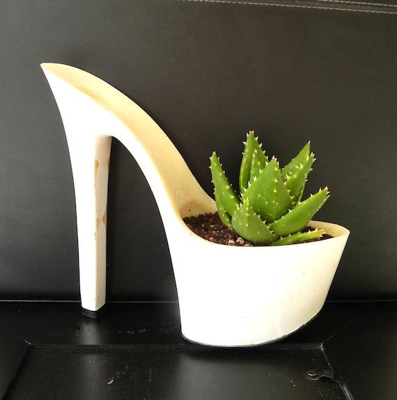 RESERVED SALE succulent planter. reclaimed stiletto high heel. bachelorette hostess gift. eco friendly. aloe plant for indoor garden