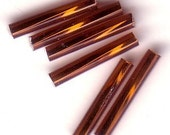 Bugle Beads - Brown SL - 15mm Czech Twisted Glass Beads - QTY 75