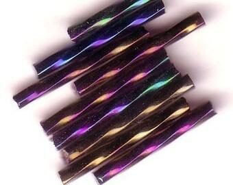Bugle Beads - Black Iris A/B MT - 20mm Twisted Czech Glass Beads - QTY 50-