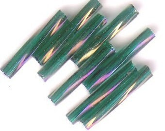 Bugle Beads - Teal Iris A/B TR - 15mm Czech Twisted Glass Beads - QTY 75