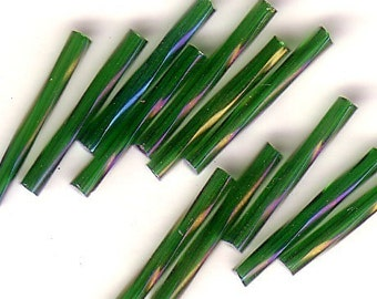 Bugle Beads - Emerald Iris A/B TR - 20mm Czech Twisted Glass Beads - QTY 50