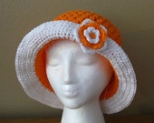 PATTERN Cotton Brimmed Crochet Sun Hat in all sizes: 0-3m, 3-6m, 12-24m, 2T-4T, child and adult sizes