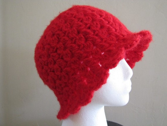 Very Warm Crocheted Women's Red Hat - Size Large