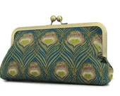 Art Nouveau Liberty of London peacock print clutch with metal frame