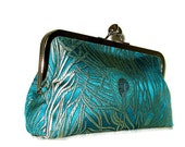 CLUTCH PURSE Handmade for Bridesmaids Peacock Feather Teal imported fabric