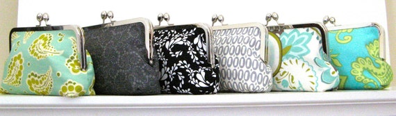 Custom for Brittany BRIDESMAIDS CLUTCH  set  of 6  Your choice of fabrics - BALANCE