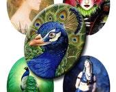 Digital Collage Sheet - Oval Vintage Peacocks and Ladies