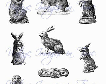 Digital Collage Sheets Vintage Chocolate Mold Rabbits