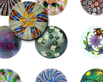 Digital Collage Sheets Vintage Paperweights - 1.5 inch circles