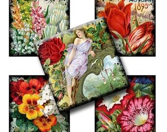 Digital Collage Sheet - Vintage Florals Inch Squares