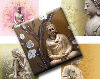 Digital Collage Sheets Buddha Inch Squares
