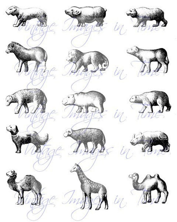 Digital Collage Sheets Vintage Chocolate Mold Zoo Animals