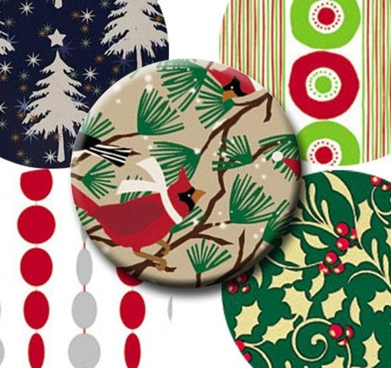 Digital Collage Sheets Retro Christmas - 1.625 inch circles