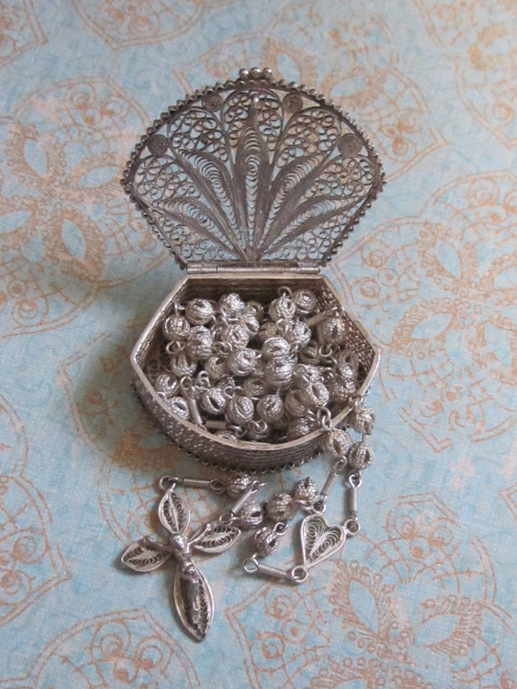 Antique 800 Silver Filigree Rosary And Rosary Box By