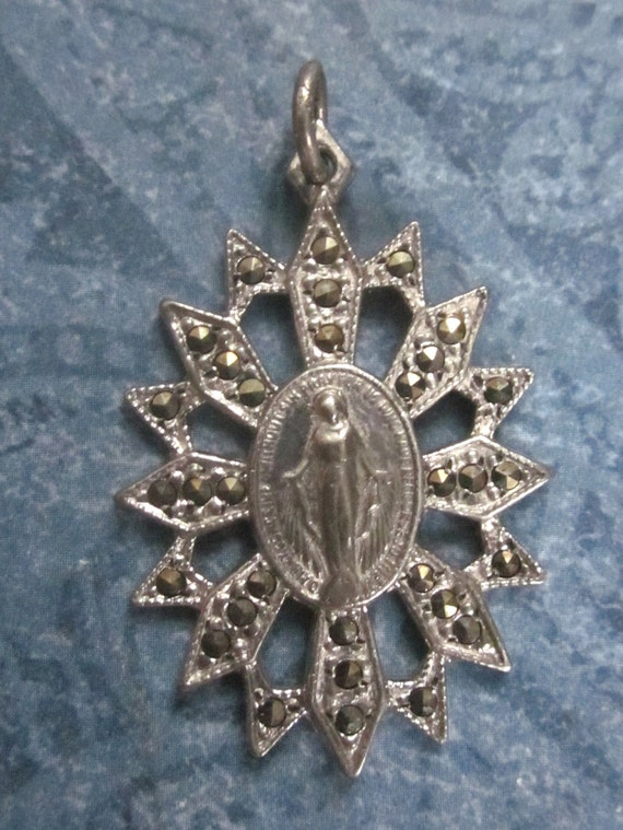Antique Sterling Silver And Marcasite Virgin Mary Religious Pendant  SS202