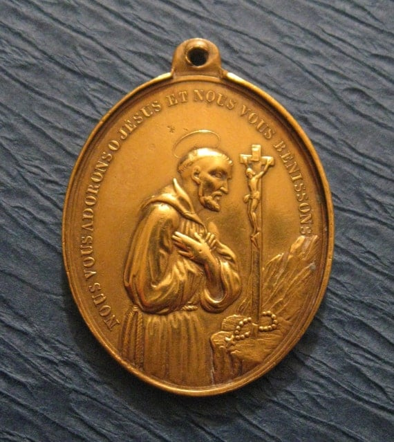 Antique French Saint Francis of Assisi  Religious Medal SS-494