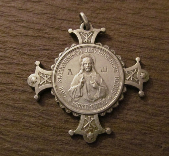 Antique Sacred Heart Of Jesus Alpha And Omega Cross Religious Medal SS-129