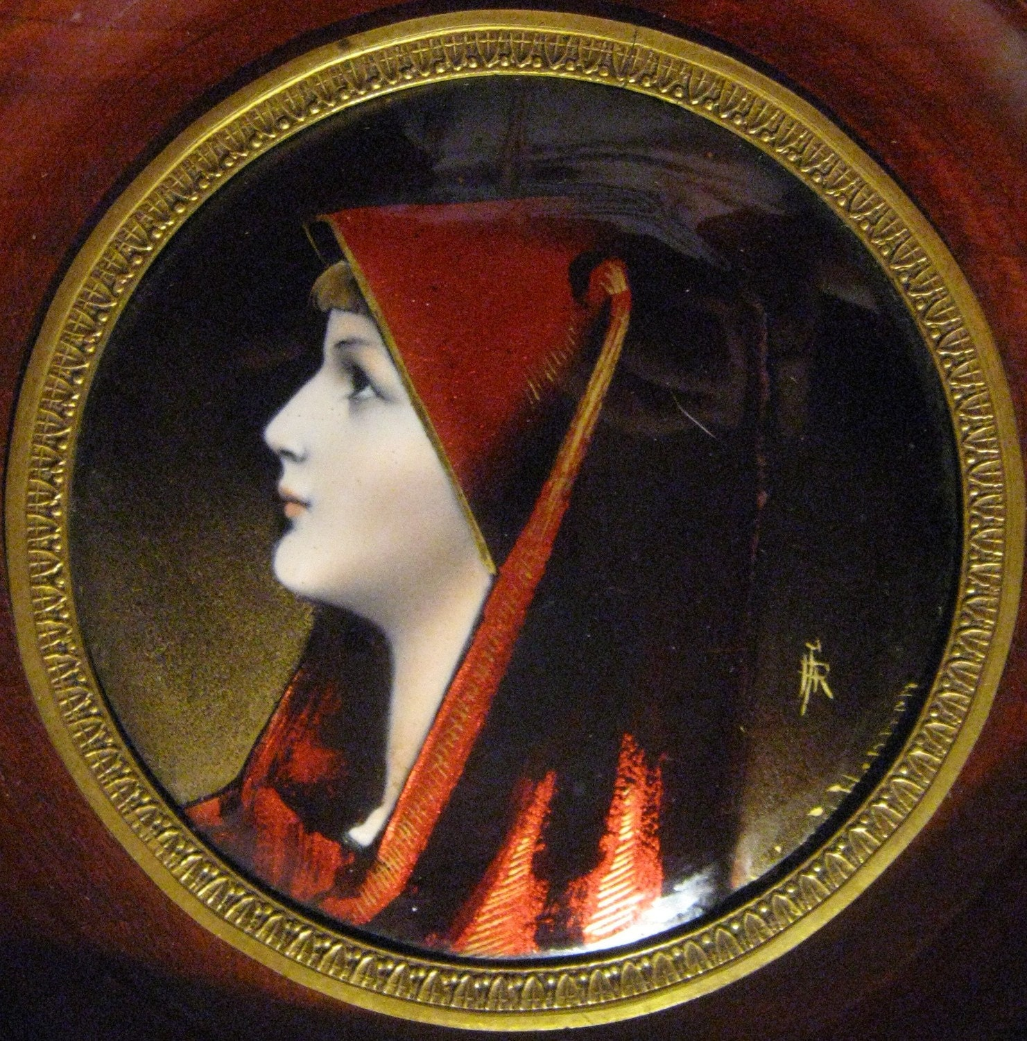 Antique French Limoges Saint Fabiola Virgin In Red Signed Jean