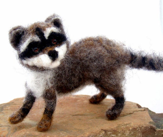Needle Felted  Baby Raccoon - sendsunshine