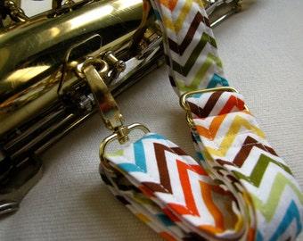 Instrument Neck Strap, Chevron Stripe with Brass Hardware