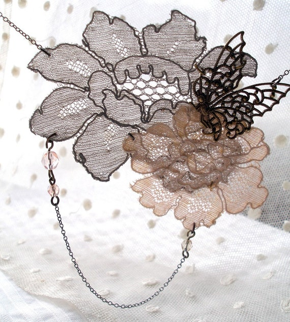 Flutter-by grey and peach vintage lace necklace