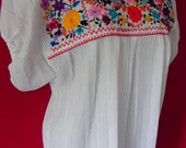 Mexican Colorful Elegant Top Blouse Lovely Flowers Embroidered Handmade Small / Medium