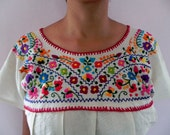 Mexican White Blouse Lovely Colorful Floral Embroidered Handmade Medium / Large - madeintechnicolor
