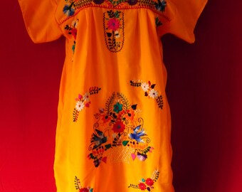 Mexican Blue Mini Dress Magic Floral Embroidered Handmade Medium