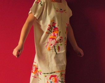 Mexican White Dress Four Fantastic Peacock Birds Handmade Embroidered Colorful Summer M/L