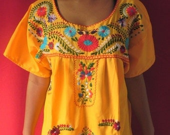 Mexican Colors Embroidered Vintage Retro 60's Style Yellow Sun Mini Dress Top Tunic