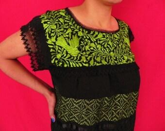 Mexican Black Dress Elegant Summer Green Birds Embroidered Handmade Medium / Large