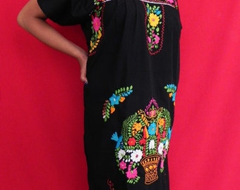 Mexican Black Traditional Long Dress Colorful Floral Embroidered Handmade Large