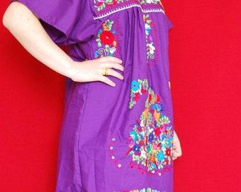 Mini Dress Purple Tunic Sun is shinning Mexican Rainbow Embroidered Vtg Boho Style Medium / Large