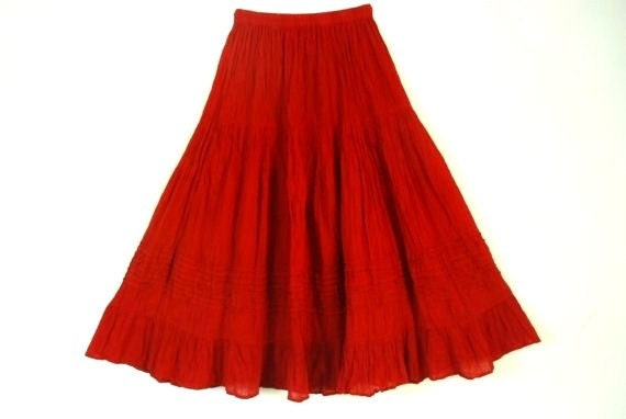 Mexican Red Skirt Comfortable Elegant Summer Long / Short
