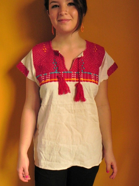 Mexican Top Blouse Red Color Comfortable Embroidered cotton  M