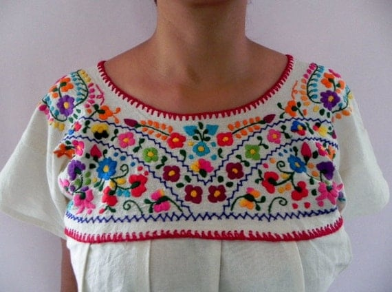 Mexican White Blouse Lovely Colorful Floral Embroidered Handmade Medium / Large