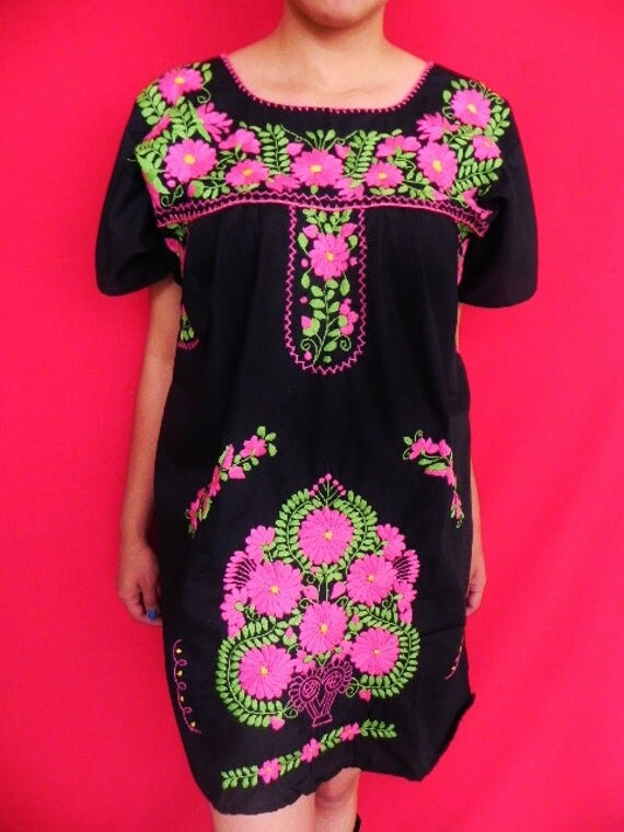 Mexican Black Mini Dress Collection Pink Floral Embroidered Handmade Medium