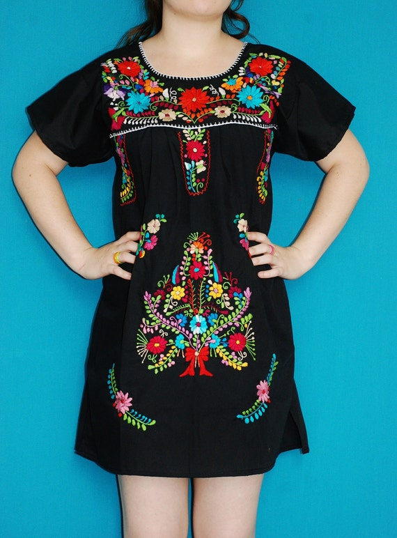 Mexican Fine Mini Dress Flowers Embroidered Handmade Spring Nigth Party Elegant Small / Medium