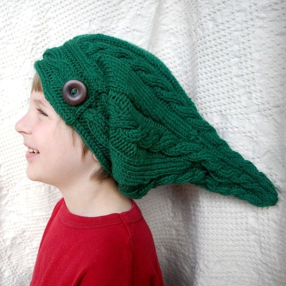 Green Elf Hat - Custom Knit Cable Elf Slouch Hat with Wooden Button Elf Cosplay