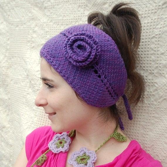 Women's Purple Knit Headband Adjustable Flower Wide Headband Earwarmer