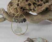 Dangling Aquamarine Earrings with Labradorite Beads OOAK