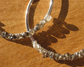 Shades of Winter Wire Wrapped Smokey Quartz Hoop Earrings - Ombre Earrings - Everyday Earrings - Autumn Fashion
