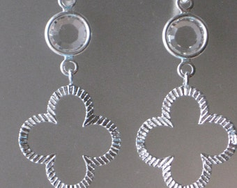 Clear Crystal and Silver Earrings*