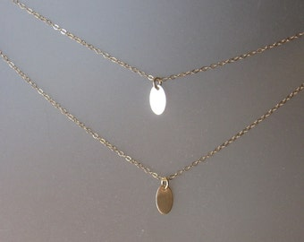 Oval Tag Necklace in Gold