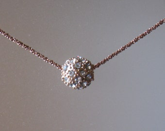 Rose Gold Crystal Ball Necklace