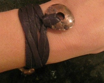 Dark Copper leather chocolate choker Wrap with bronze components --SALE--