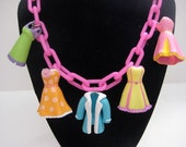 Super CUTE Polly Pocket Dress Necklace, PINK, Barbie, Blythe, Doll, Shoe