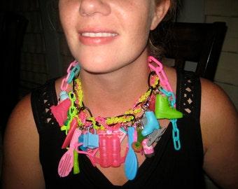 Neon, BARBIE SHOE, Barbie NECKLACE, Barbie jewelry, Doll Shoe, Sale, One of a kind